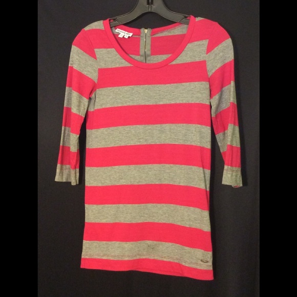 Lacoste Tops - Lacoste Pink and Grey Stripe Tee